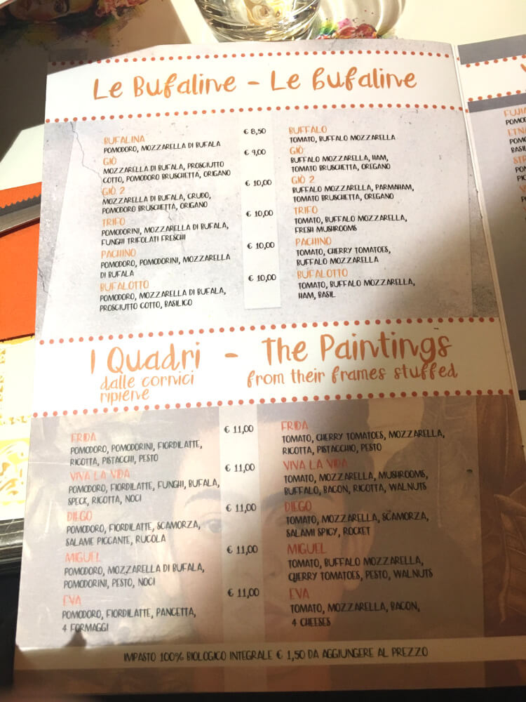 170513 Sizilien Palermo Restaurant Frida Karte