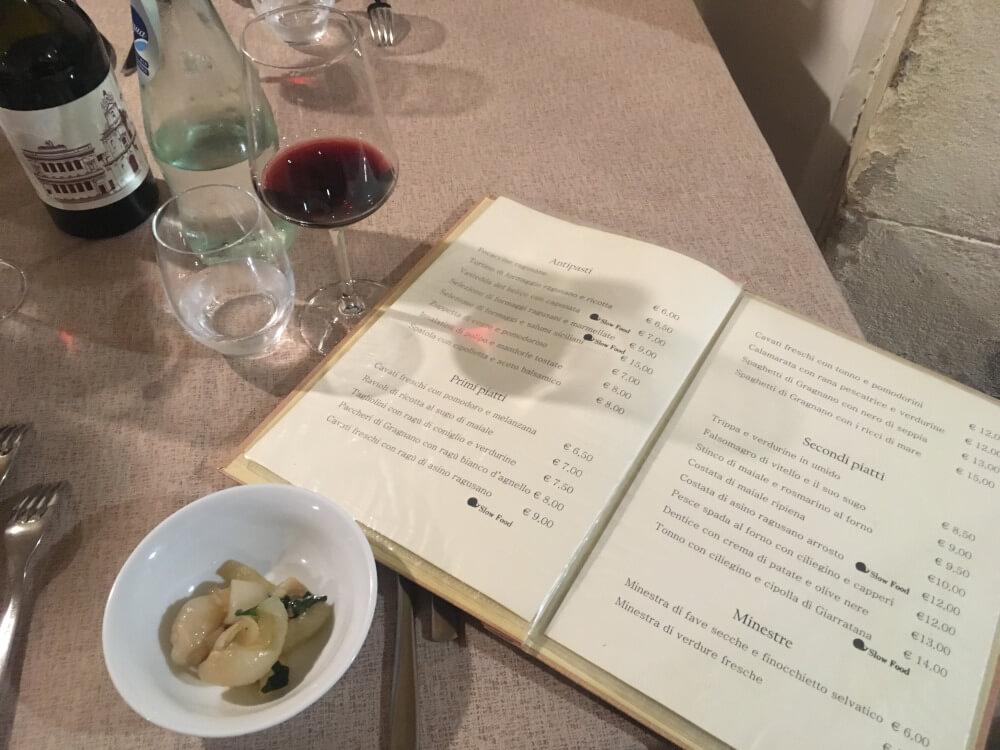 Restaurant-cuccina_et_vino-Sizilien-Karte
